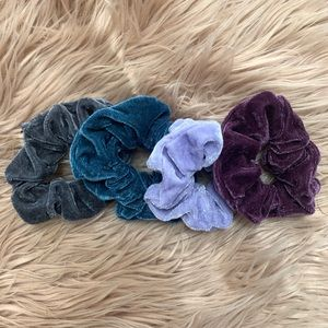 Velvet Hair Scrunchies - Includes 4